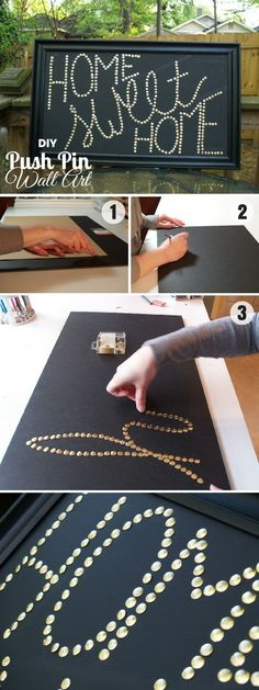 Check out how to make easy DIY Push Pin Wall Art for bedroom decor