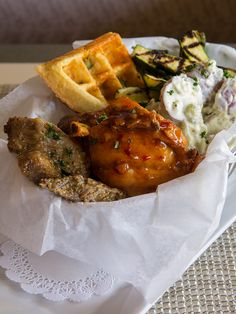 Join Glenmorgan for dinner in July and go big with the #BBQ Basket loaded with smoky grilled brisket in Carolina mustard sauce, whiskey BBQ glazed pork shank, hoisin BBQ boneless chicken thighs, red skin potato salad, charred baby zucchini, and a cheddar-jalapeno waffle chunk to soak up the sauce.
