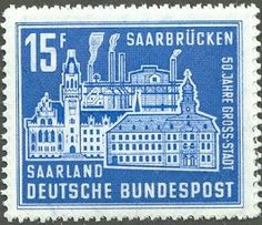Ideal Stamp Town hall smeltery Burbach Germany Saarland years metropolis