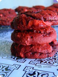 Mom's Test Kitchen: Cream Cheese Swirled Red Velvet Cookies #SundaySupper
