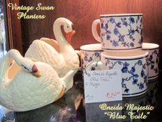 Vintage swans and cups