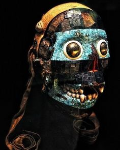 """Skull with turquoise mosaic, representing Tezcatlipoca, the Smoking Mirror. Mixtec from or Century. Collections D'objets, Aztec Art, Tattoo Project, Mesoamerican, Mexican Art, Ancient Civilizations, Ancient Art, Ancient History, Native American Art"