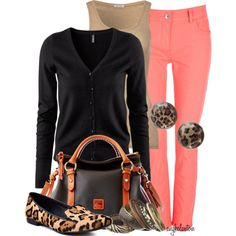 The Look: Leopard Loafers- Love this preppy look with coral jeans for fall (minus the Dooney) Casual Outfits, Fall Outfits, Cute Outfits, Work Outfits, Womens Fashion For Work, Work Fashion, Women's Fashion, Fashion Ideas, Fasion