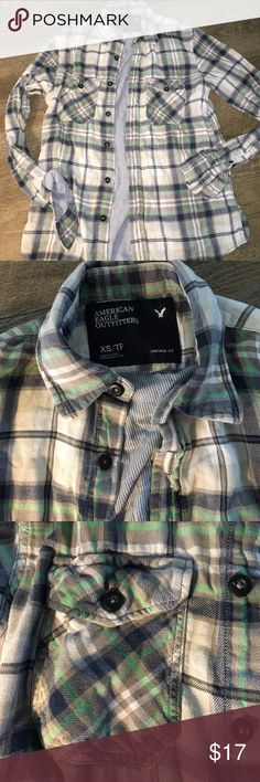 American Eagle Flannel! XS blue and white flannel shirt from American eagle! Smoke free and I bundle! American Eagle Outfitters Tops Button Down Shirts