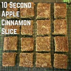 10 Second Apple Cinnamon Slice Healthy Slice, Healthy Cake, Healthy Baking, Healthy Snacks, Healthier Desserts, Healthy Breakfasts, Apple Recipes, New Recipes, Sweet Recipes