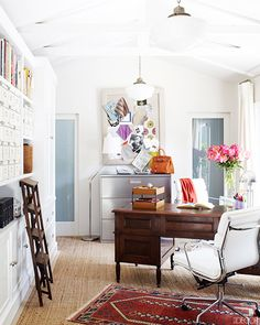 The Most Versatile Pieces of Decor You'll Ever Own// layered rug, seagrass carpet, ladder, office space, inspiration board