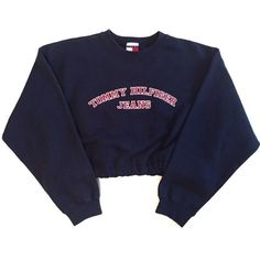 Vintage Reworked TH Jeans Crop Sweatshirt Navy (€57) ❤ liked on Polyvore featuring tops, sweaters, crop top, jumper, blue top, elastic bottom tops, blue crop top and navy crop top
