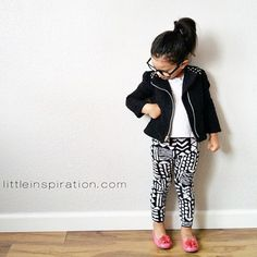toddler outfit, black and white, jacket, buddy holly glasses, pink shoes, printed pants