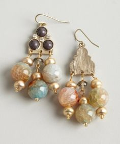 Danielle Stevens : gold and multi color stone chandelier earrings : style # 320858801