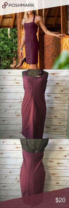 """Athletes Fiore Sizzle Dress Maroon Sizzle Halter Dress from Athleta. Has a built in bra.  Size 6.  Perfect for travel, casual wear.  Bodycon dress.    88% Supplex, nylon  Producte measurents when laid flat.  Bust (across the chest - stretches):15""""  Length:30"""" Athleta Dresses Midi"""