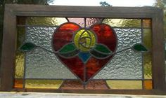 heart stained glass window stained glass   Details about victorian heart rose leaded stained glass window