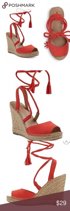 Merona Maren Red Lace Up Espadrille Wedge Sandals RedSize 5.5