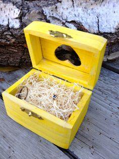 Custom Painted Ring Box, Ring Bearer Box, Cutout Heart, Natural Wood Bedding, Rustic Wedding, Country Wedding, Barn Wedding, Engagement
