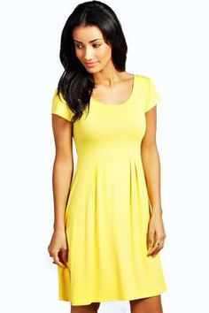 5a0535cab1 boohoo Jersey Cap Sleeve Skater Dress - yellow azz29673 Wow! Over 85% of  customers