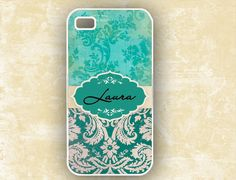 Iphone 4 case, Tiffany blue and teal grunge damask monogram Iphone 4s cover (9697). $17.99, via Etsy.