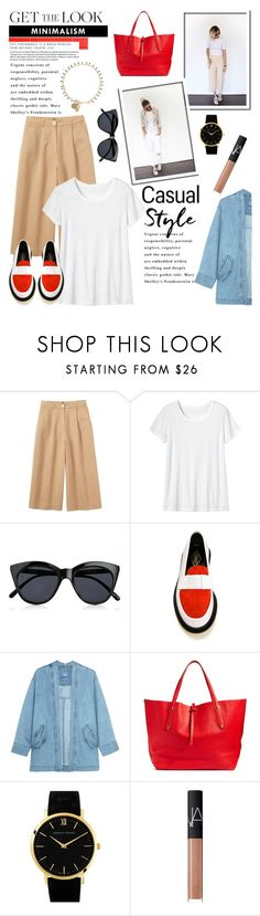 """Minimalism With A Pop of Color..."" by glamorous09 ❤ liked on Polyvore featuring Toast, Le Specs, ADIEU, Steve J & Yoni P, Annabel Ingall, Larsson & Jennings, NARS Cosmetics, Isabel Marant, casual and mimimalist"