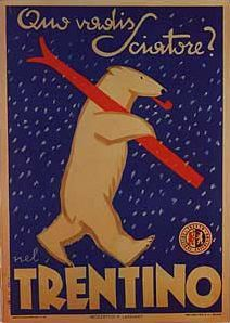 Trentino Vintage Skiing Poster Ad