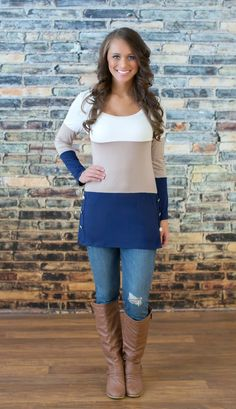 The Pink Lily Boutique - Just The Way I Like Tan Colorblock Tunic , $35.00 (http://thepinklilyboutique.com/just-the-way-i-like-tan-colorblock-tunic/)