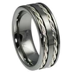 unique rope mens wedding bands.. slightly darker outta, ropes indicate love tethered together