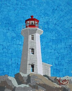 Mosaic Lighthouse,  by Kerri Ertman. Nice shadows. Very well done. A nicePinner told me this was Peggy's Cove in Nova Scotia.