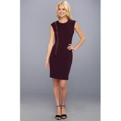 Calvin Klein - Ponte Dress w/ Zippered Pleat (Aubergine) - Apparel - product - Product Review