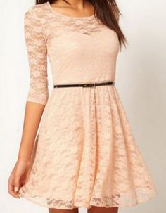 Sexy Lace Skater Dress With Belt
