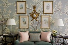 Interior design is an investment, and designer Cathy Kincaid's interiors are created to last a lifetime. I absolutely adore her timeless classic style! The other day I was perusing her glorio… Gracie Wallpaper, Home Wallpaper, Wallpaper Ideas, Remove Wallpaper, Painted Wallpaper, Interior Wallpaper, View Wallpaper, Wallpaper Patterns, Wallpaper Decor