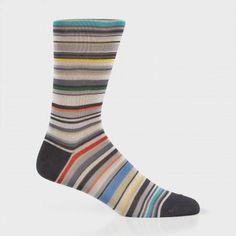 Paul Smith Men's Socks - Elephant Grey Signature Stripe Socks $30