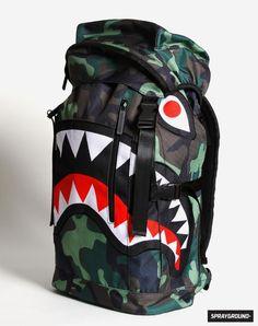 "Spray Ground ""Camo Shark Top Loader Rucksack Backpack"""