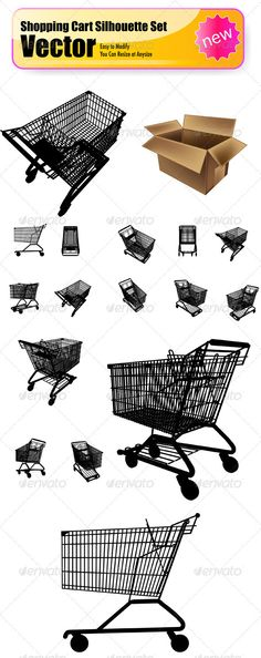 Vector Shopping Cart Silhouette Set - Man-made Objects Objects