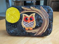 Polymer Filigree and Mosaic Tin Night Owl Altoids by ColorfulClay, $20.00