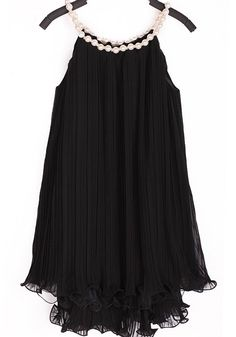Black Patchwork Double-deck Falbala Pearl Sleeveless Chiffon Dress
