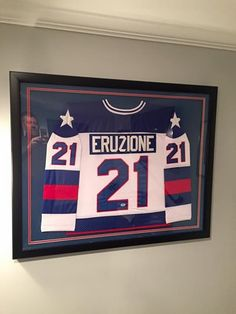framed jersey of miracleonice hero mikeeruzione framedjersey jerseyframing framed hockey jerseysheroes