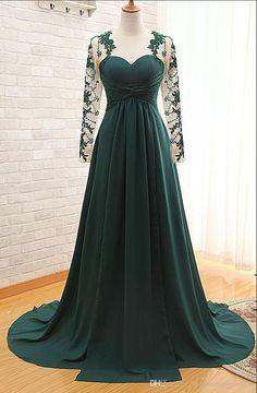 Dark Green Floor Length Lace Appliquéd Mesh Long Sleeved Sweetheart Evening  Dress Featuring Chapel Train and Keyhole Back 6c5b47222f73