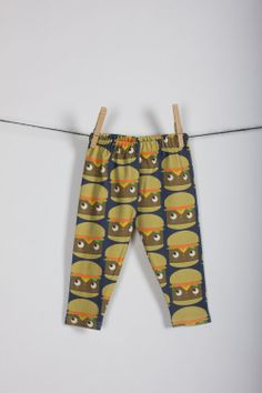 littlefour organic cotton knit cheeseburger print baby leggings NB 3m 6m 12m 18m. $28.00, via Etsy.