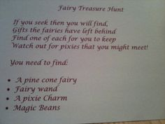 Woodland fairy party activity - scavenger hunt treasure instructions