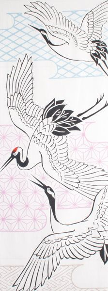 Japanese washcloth, Tenugui  手ぬぐい 鶴 cranes