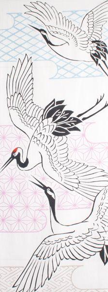 Japanese washcloth, Tenugui  手ぬぐい 鶴 cranes