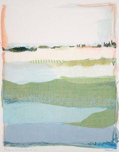 Karin Olah, original fine art paintings with fabric and mixed media | Land & Sea: