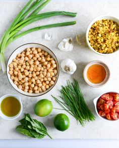 summer chickpea salad with honey garlic lime vinaigrette I howsweeteats.com