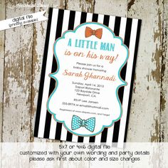 baby boy shower invitation with bow ties, little gentleman theme, digital, printable file (item 1299) baby shower invite on Etsy, $13.00