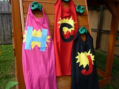 I made my three super kids some capes!  I used this tutorial , with one small change.  I used youth size XL tshirts instead of the suggeste...