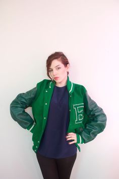 Green & white genuine Letterman jacket Varsity Letter E. _ EDDIE!