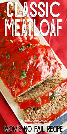 Classic Meatloaf Recipe is so easy & just like mom used to make. Deliciously hearty dinner that's perfect when paired with mashed potatoes & green beans.