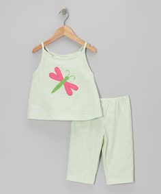 This Green Stripe Dragonfly Tank & Capri Pants - Infant is perfect! #zulilyfinds