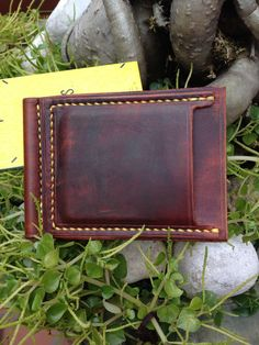 Leather money clip wallet id wallet vegetable by TisonLeather