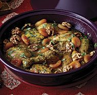 Sweet Chicken Tagine with Apricots and Caramelized Walnuts Recipe. Enjoy Moroccan cooking and learn how to make Sweet Chicken Tagine with Apricots and Caramelized Walnuts. Sauce Supreme, Caramelized Walnuts, Tagine Cooking, Cassoulet, Tagine Recipes, Walnut Recipes, Sweet Tarts, Chicken Recipes, Cooking Recipes