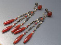 Vintage Czech Filigree Glass Long Dangle Earrings