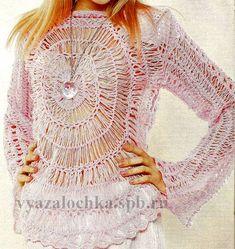 ажурный пуловер на вилке схема вязания