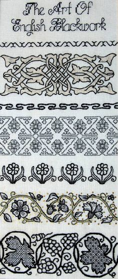 'The Art of English Blackwork' sampler by Jane D. Zimmerman represents the development of the technique. Each sample band is adapted from an existing 16th / 17th portrait or extant embroidery piece. Represented are Catherine of Aragon, Henery VIII, Ann Boleyn, Jane Seymore, Mary I & Elizabeth I.